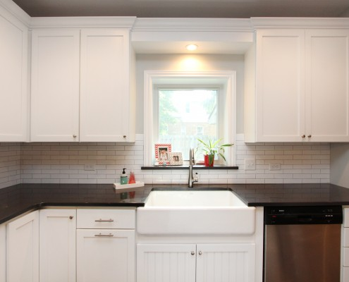 white cabinetry in farmhouse kitchen
