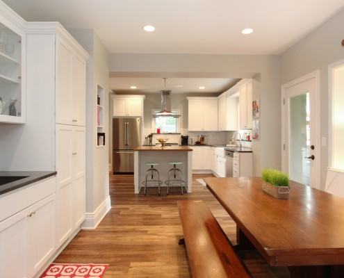 farmhouse kitchen with white cabinetry