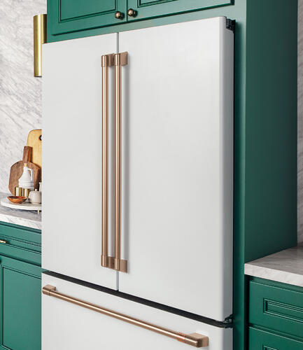 matte-white-french-door-refrigerator-with-green-cabinets